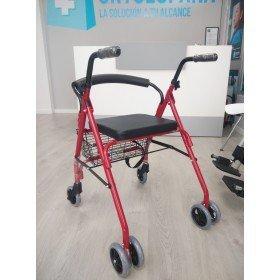 Andador rollator 4 ruedas con frenos por presión - Ortoespaña