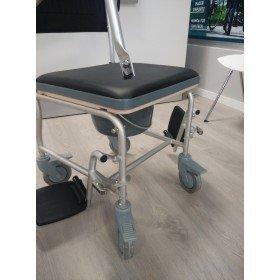 Silla de wc de aluminio tapizada con ruedas - Ortoespaña