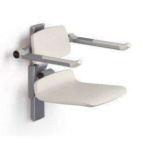 Asiento de ducha regulable en altura con respaldo y brazos - Ayudas dinámicas
