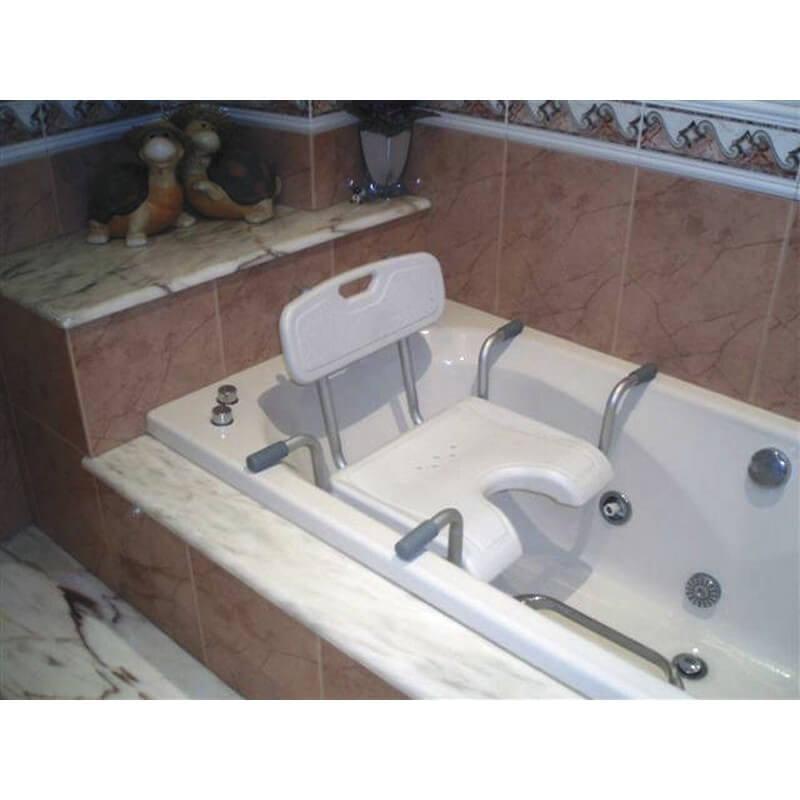 Asiento para bañera en forma de U con respaldo