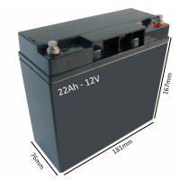 Batería AGM 22Ah - 12V para scooter y silla eléctrica