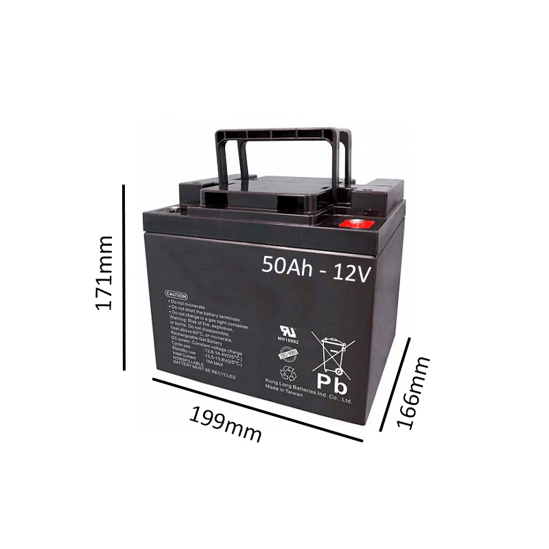 Batería de GEL 50Ah - 12V  para scooter y silla eléctrica - Ortoespaña