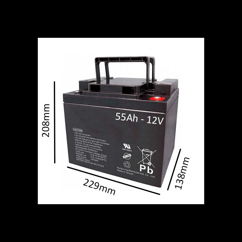 Batería de GEL 55Ah - 12V  para scooter y silla eléctrica