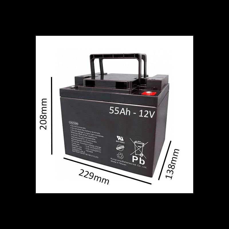Batería de GEL 55Ah - 12V  para scooter y silla eléctrica - Ortoespaña