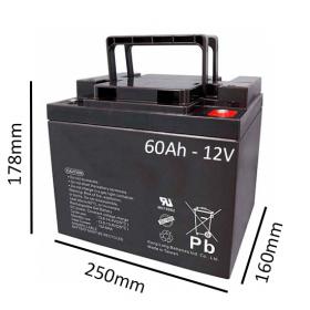 Baterías de GEL para Silla de ruedas eléctrica DRAGON TOP de 60Ah - 12V - Ortoespaña