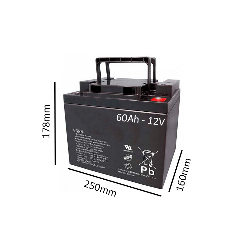 Baterías de GEL para Silla de ruedas eléctrica DRAGON VERTIC de 60Ah - 12V - Ortoespaña