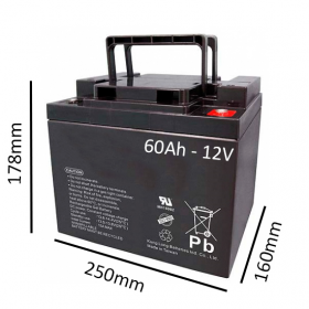 Baterías de GEL para Silla de ruedas eléctrica JIVE R2 de 60Ah - 12V - Ortoespaña