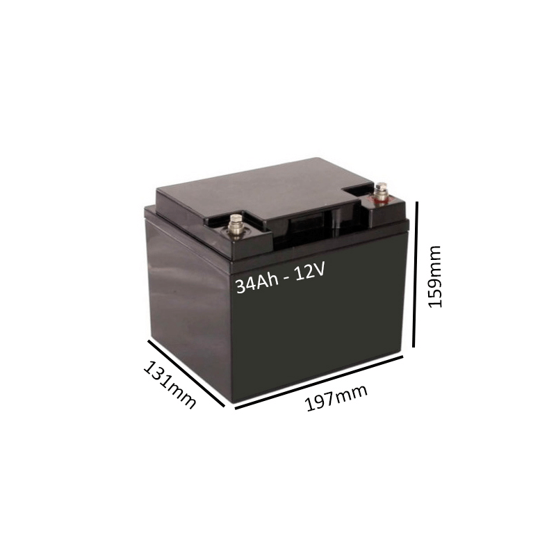 Baterías de GEL para Scooter eléctrico LEO 3 y 4 RUEDAS de 34Ah - 12V - Ortoespaña