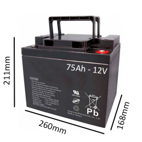 Baterías de GEL para Silla de ruedas eléctrica JIVE R2 de 75Ah - 12V - Ortoespaña