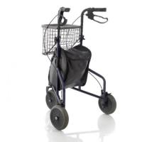 Rollator de 3 ruedas con cesta de metal y bolsa de nylon