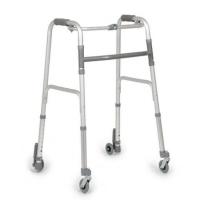 Andador de aluminio plegable con dos ruedas autobloqueantes