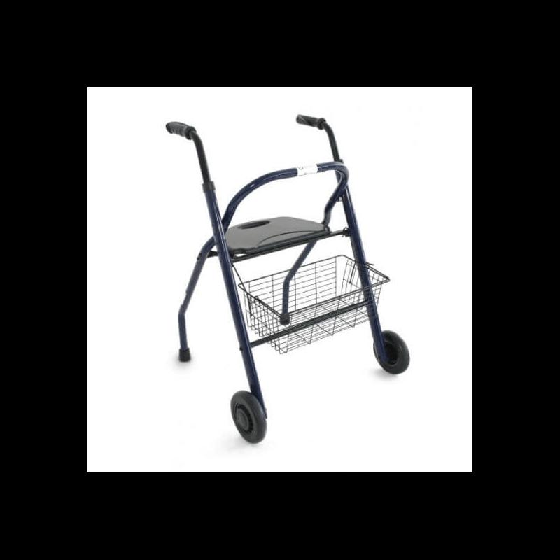 Andador plegable con asiento, respaldo y cesta