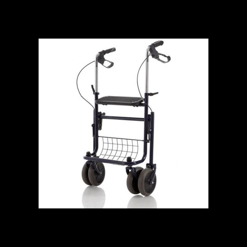Andador con asiento, bandeja y cesta