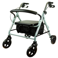 Andador de cuatro ruedas con asiento y cesta