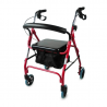 Andador de cuatro ruedas con bolsa y cesta
