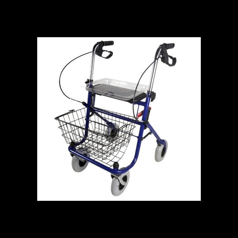 Andador de cuatro ruedas con cesta y bandeja