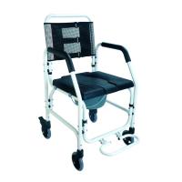 Silla de ruedas con inodoro de aluminio