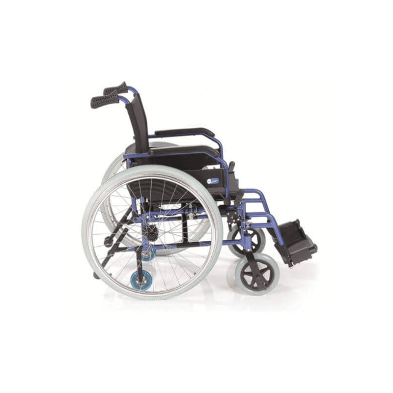 Silla de ruedas plegable de aluminio azul