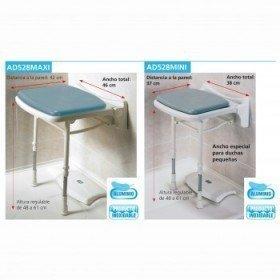 Asiento abatible de ducha compacto y acolchado - Ayudas dinámicas