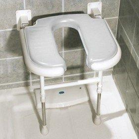 Asiento de ducha abatible forma de 'U' con patas - Ayudas dinámicas