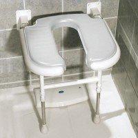 Asiento de ducha abatible forma de 'U' con patas