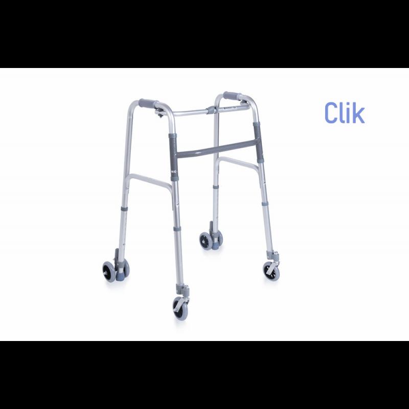 Andador plegable de 4 ruedas, 2 dobles