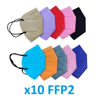 Pack mascarillas FFP2 adultos de colores (10uds)