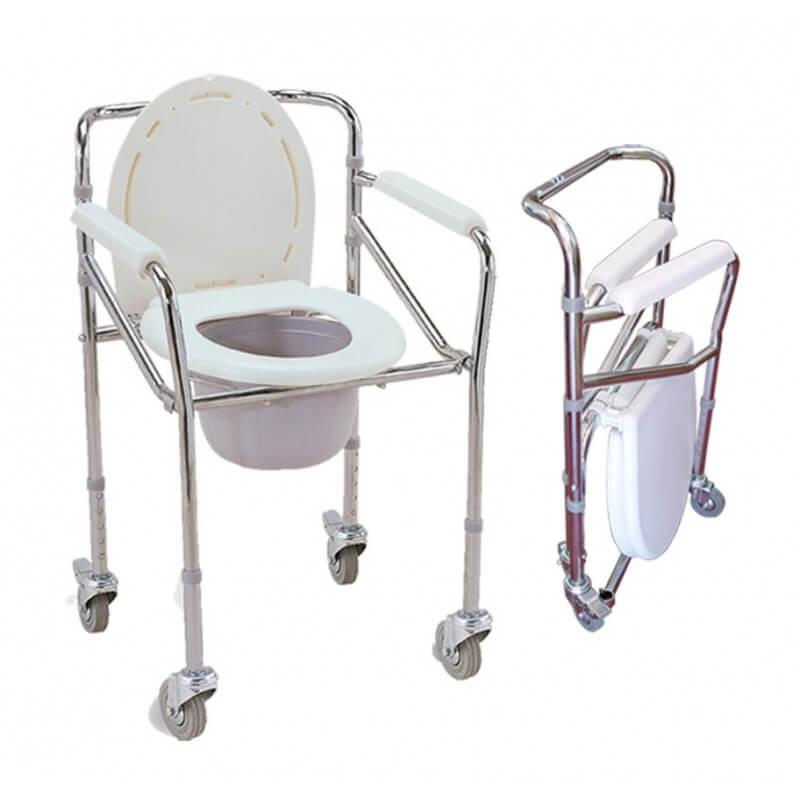 Sill n inodoro con ruedas regulable en altura for Altura silla