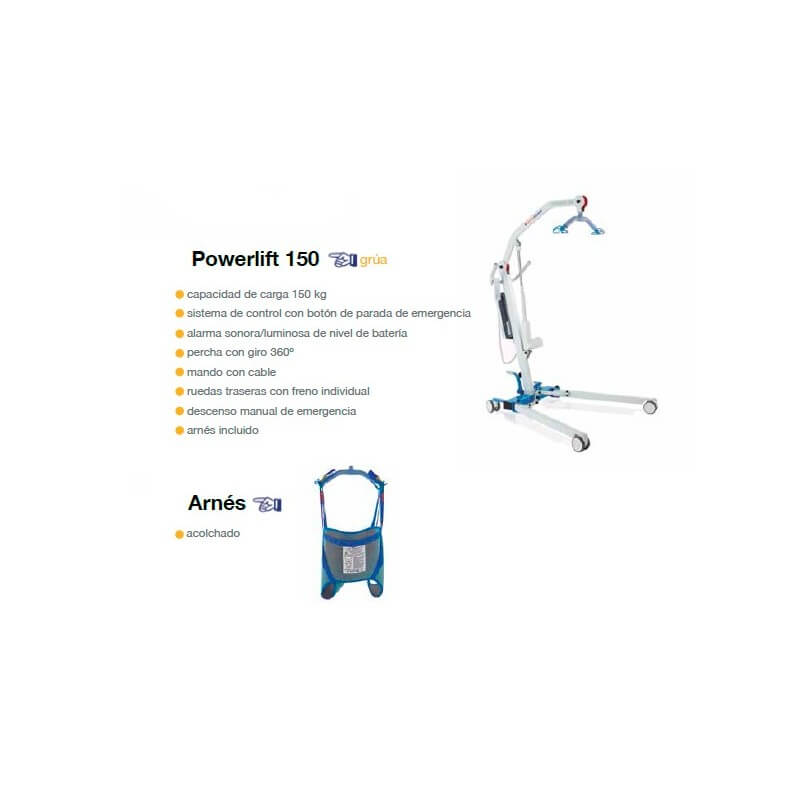 Grúa Powerlift 150 + arnés