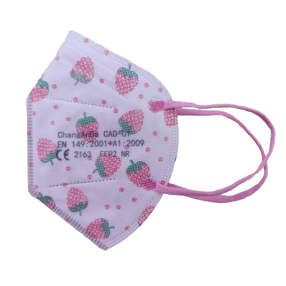Mascarilla ffp2 infantil rosa de fresas